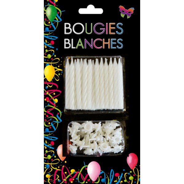 24 bougies d 39 anniversaire couleur blanche pour gateaux chez be happy. Black Bedroom Furniture Sets. Home Design Ideas