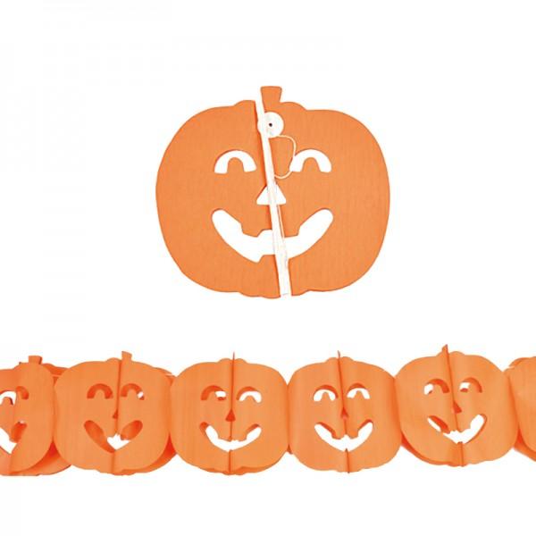 D coration halloween de 3m motif citrouille en papier couleur orange - Citrouille halloween en papier ...