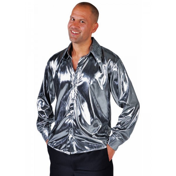 chemise disco ann e 80 39 s luxe argent brillant pour homme en location. Black Bedroom Furniture Sets. Home Design Ideas