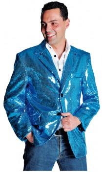 Veste Paillettes Disco Bleu
