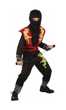 Déguisement ninja enfant noir et rouge