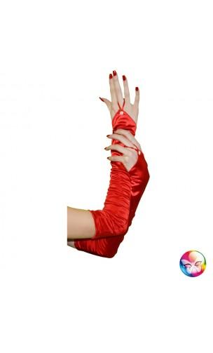 Gants Plissés Rouge 45cm