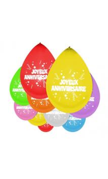 "10 Ballons ""Joyeux Anniversaire"""