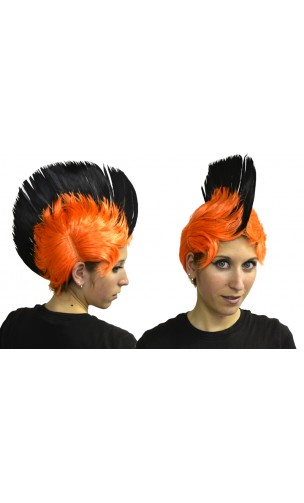 Perruque Crête Orange / Noir