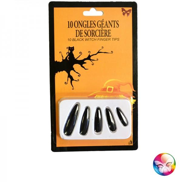 10 Faux Ongles Noir