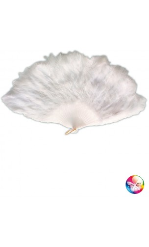 Eventail Marabout Plume Blanche