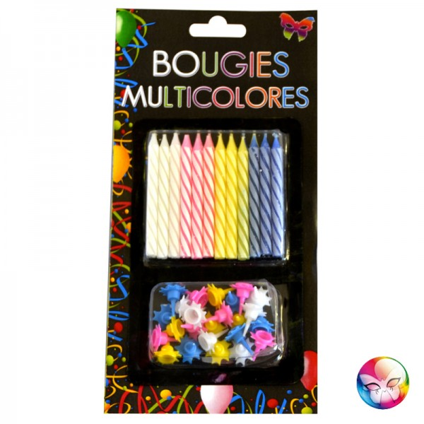 24 bougies d 39 anniversaire multicolore pour gateaux chez be happy. Black Bedroom Furniture Sets. Home Design Ideas