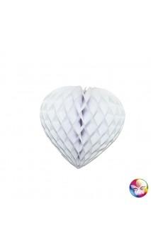 Coeur Papier Alveole Blanc 30cm