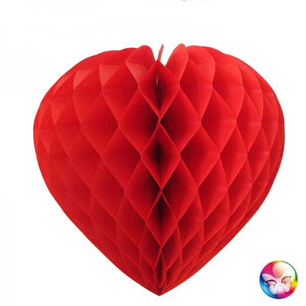 Coeur Papier Alveole Rouge 30cm