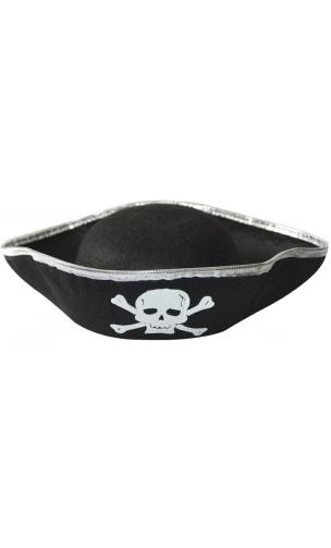 Chapeau Pirate Argenté adulte
