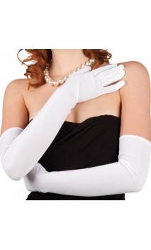 Gants Satiné Blanc 60 cm