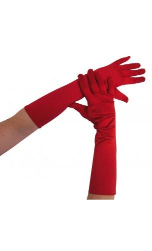 Gants long rouge satiné
