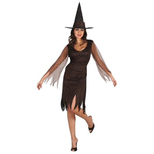 Costume sorcière étoilé orange