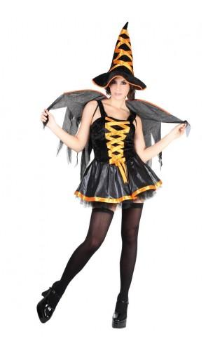 Costume sorcière sexy orange
