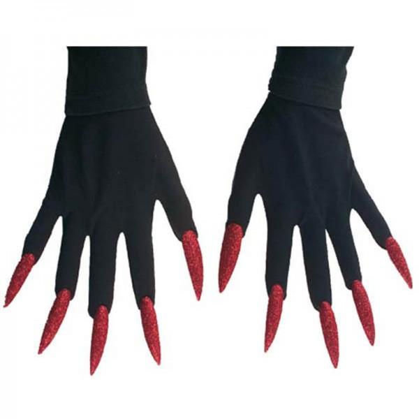 Gants sorcière avec ongles rouge
