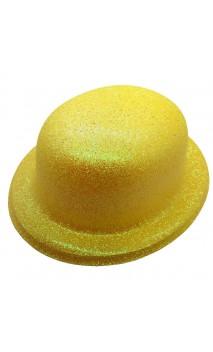 Chapeau melon jaune pailletté