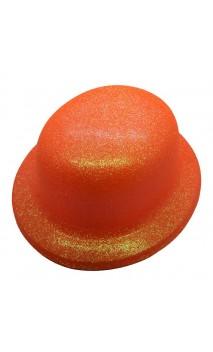 Chapeau melon orange pailletté