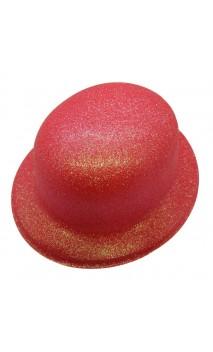 Chapeau melon rouge pailletté