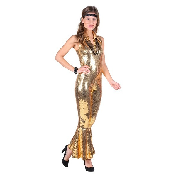 Combinaison disco dorée luxe
