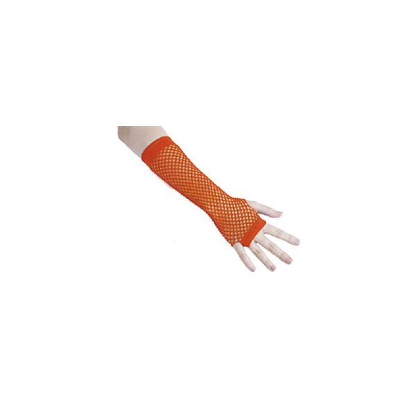 Mitaines résille fluo orange