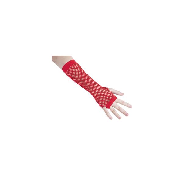 Mitaines résille fluo rouge