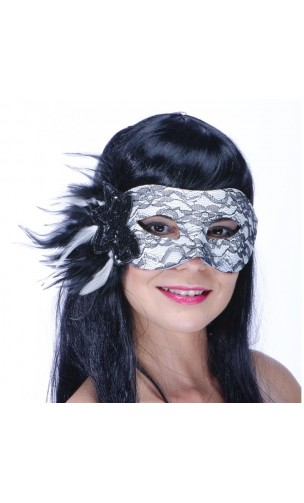 Masque loup chic dentelle plumes