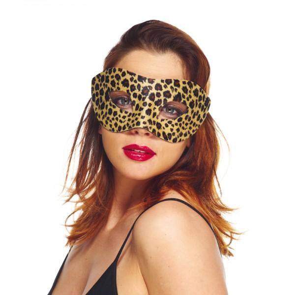 Masque loup velour léopard
