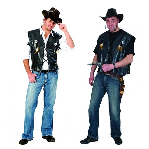 Gilet cowboy noir luxe