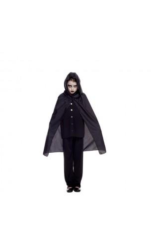 Cape à capuche noire 70 cm