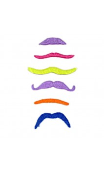 6 moustaches fluo