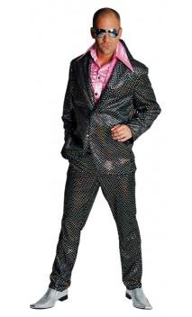 Costume disco noir à paillettes argenté