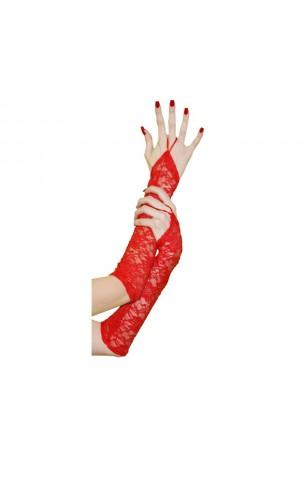 Manchettes dentelle rouge 38cm