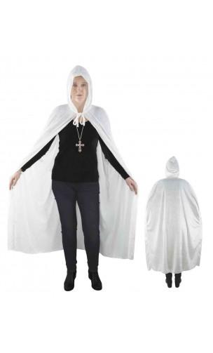 Cape velours blanc avec capuche 140cm