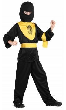 Déguisement ninja noir et jaune enfant