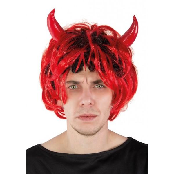 Perruque diable rouge et noir avec cornes