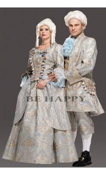 Robe marquise baroque bleu luxe