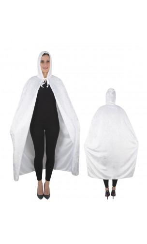 Cape velours blanche à capuche