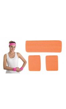 Bandeau et poignets disco orange fluo
