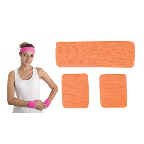 Bandeau et poignets disco orange fluo