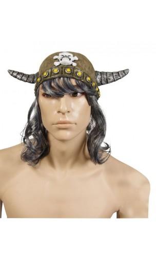 Casque viking souple gris avec cheveux
