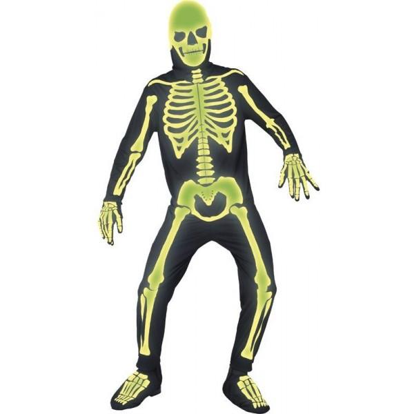Déguisement squelette phosphorescent adulte
