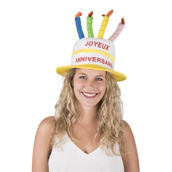 Chapeau joyeux anniversaire pour déguisement avec bougies en vente à Paris chez Be Happy