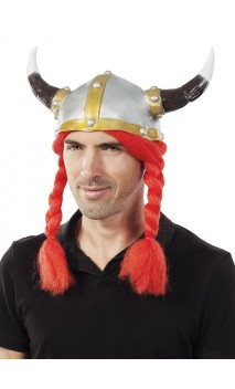 Casque viking latex avec tresses rouges