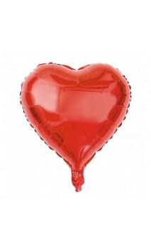 Ballon coeur rouge métallisé