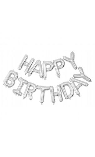 Ballon Happy Birthday argenté