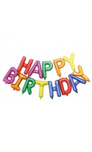 Ballon Happy Birthday multicolore