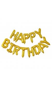 Ballon Happy Birthday dorés