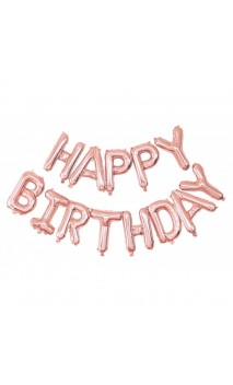 Ballon Happy Birthday rose gold