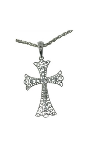 Croix argenté avec diamant
