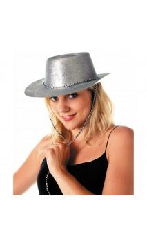 Chapeau cowboy paillette argenté